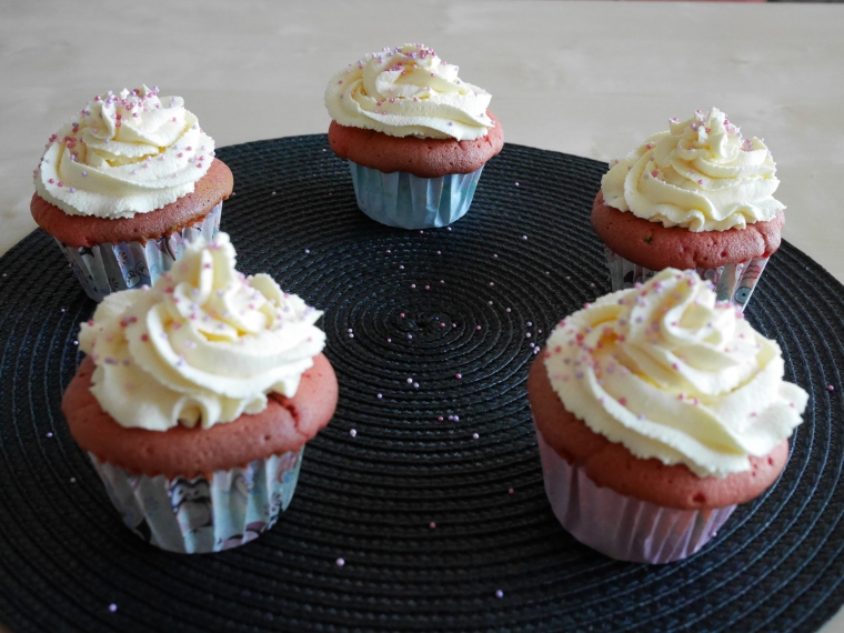 Whipped Cream frosted Rainbow Cupcakes